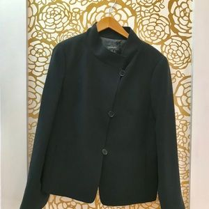 Talbots Black Asymmetrical Button Blazer Coat
